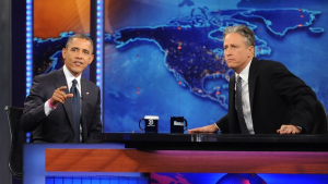 Barack Obama and Jon Stewart on set at The Daily Show (Photo: Brad Barket/PictureGroup)