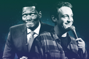 Michael Che and Dan Soder (Ilustration: Vulture; Images: NBC / Getty)